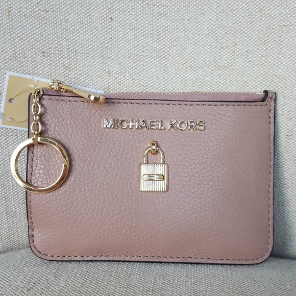 00142792307ca NWT Michael Kors SM Adele Coin Pouch wallet Fawn